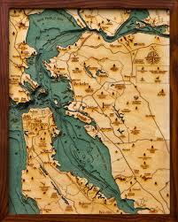 San Francisco Bay Bathymetric Wood Chart Decor San