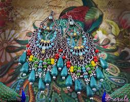 multi colored bohemian chandelier earrings