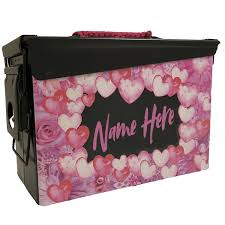 Pictures Of Hearts And Flowers Custom Ammo Can For Women Hearts Flowers Storage Lock Box