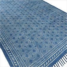 sentinel 4 x 6 ft indigo blue cotton block print accent area dhurrie rug flat weave hand