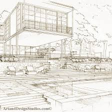 architectural hand drawings. Pool Sketch; Landscape Design Architecture Hand Drawing; Architectural Drawings