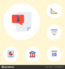 Bill Chart App Set Of Finance Icons Flat Style Symbols With Bill