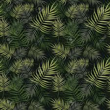 Palm Leaf Pattern Awesome Green Palm Leaves Pattern On Black Background Royalty Free Cliparts