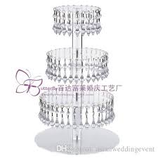 4 tier round acrylic glass cupcake tower stand with hanging acrylic crystal bead wedding party cake tower cupcake holder beach wedding decorations ideas