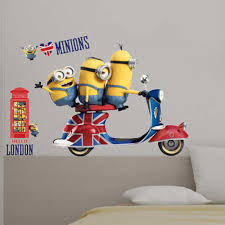 Minion Wallpaper For Bedroom Minions Vespa Giant Stickers Great Kidsbedrooms The Children