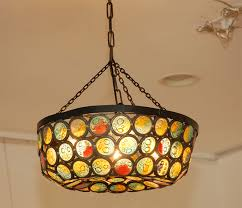 artis stained slag glass chandelier at stdibs pertaining to