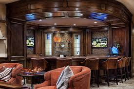 home bar designs. corner home bar layout with three panel backbar \u0026 dual televisions. designs