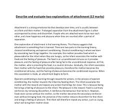 describe and evaluate two theories of attachment a level  document image preview
