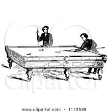 billiards black and white. Clipart Of Retro Vintage Black And White Men Playing A Game Billiards Pool - Royalty Free Vector Illustration By Prawny D