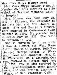 Obituary for Cora Riggs Houser - Newspapers.com