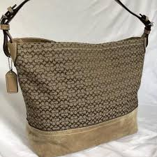 Coach Signature Large Bucket Tote  Camel Tan and Dark Brown (F11666)