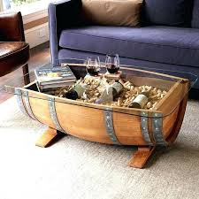 wine barrel coffee table oak