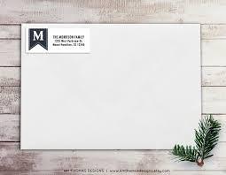 Monogram Return Address Labels Monogram Return Address Label Holiday Return Address Label