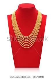 Long Necklace Display Stand Gold Necklace On Necklace Display Stand Stock Photo 100 39