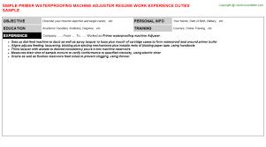 Primer Waterproofing Machine Adjuster Resume Sample