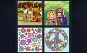 4 pics 1 word peace sign flower power hitchhiker girls two hippies
