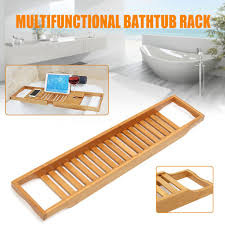 bathroom bamboo bath shelf caddy wine holder tray over bathtub rack storage