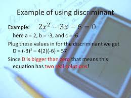 8 discriminant 3 cases for a quadratic equation