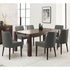 bentley designs lyon walnut extending dining table 6 taupe fabric chairs