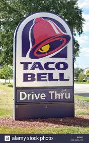 taco bell sign. Unique Sign Taco Bell Drive Thru Shop Sign  Stock Image To Sign