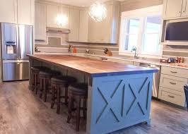 kitchen island farmhouse chic sleek walnut butcher block barn wood black countertop home improvement s rochester