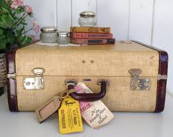vintage luggage. vintage carson quality luggage gold and brown leather hard case suitcase retro glamping overnight weekend travel o