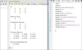 size of matrix matlab write a matlab program for a display the matrix b get the matrix