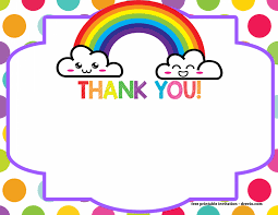 Template Thank You Cards Free Printable Rainbow Thank You Card
