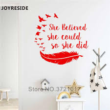 Joyreside Girls She Believed She Could So She Did Wall Decal Vinyl Sticker Quote Birds Feather Home Decoration Art Design Xy062