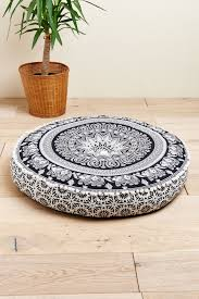 Black and White Elephant Floor Pouf
