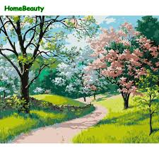 spring landscape canvas paintings modular pictures paint by numbers wall digital paintings in the living room