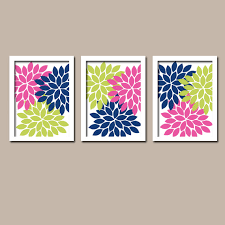 lime green navy blue pink flower burst dahlia artwork set of 3 trio prints decor abstract on lime green bathroom wall decor with lime green navy blue pink flower burst dahlia artwork set of 3 trio