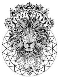 boho lion with sacred geometry coloring book page printable instant