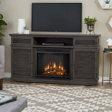 entertainment electric fireplace in gray