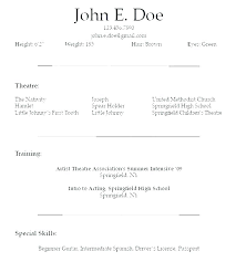 Examples Of Actors Resumes Resume Template For Actors Gotostudy Info
