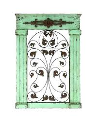 wrought iron and wood wall decor gate wall decor old world rustic metal and wood scroll