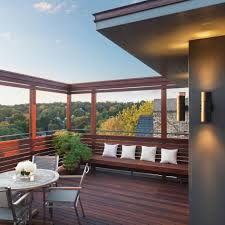 rooftop furniture. Modern Balcony Decorating Ideas Deck Contemporary With Roof Natural Wood Trellis Patio: Large Rooftop Furniture