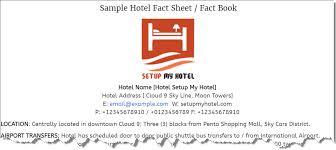 Hotel Fact Sheet Sample Sample Hotel Information Sheet Fact Book