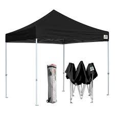 commercial gazebo black 10x10 outdoor pop up instant canopy tent w wheeled bag