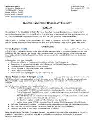 example cv sbastien ribaute in broadcast industry system engineer resume sample