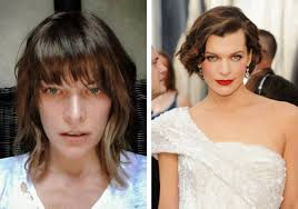 milla jovovich the resident evil actress without makeup on the left and with makeup