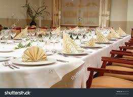 Setting A Dinner Table Table Setting Large Dinner Table Set Stock Photo 5731273