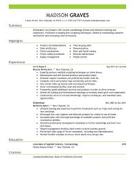 Esthetician Resume Sample Outathyme Com