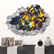 3d blebee transformers decal removable break wall sticker baby kid room decor