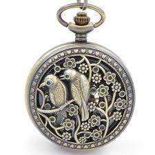 two birds design case mechanical pocket watch chains hand two birds design case mechanical pocket watch chains hand winding up 17 crystals movement 5