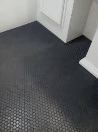dark tile bathroom floor ann sacks savoy penny mosaics