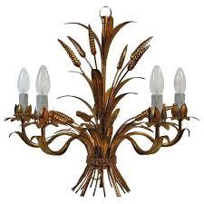 french 1950s 5 arm gilt sheaf of wheat chandelier