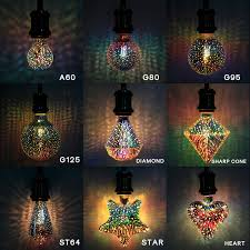 2019 3d led bulb 220v star heart diamond edison night light colorful novelty firework lampara holiday home bar decoration from fried 59 72 dhgate com