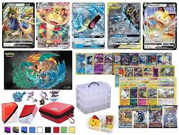 Totem World 100 Pokemon Cards Includes V VMAX Tag Team GX Mega EX Trainer  or Shining Holo, 10 Rares, 4 Booster Packs, 100 Sleeves, Zipper Card Case,  Deck Box, Figure & 3-Tier