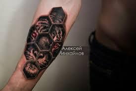 тигр в сотах рукоделие тату тату соты и татуировки